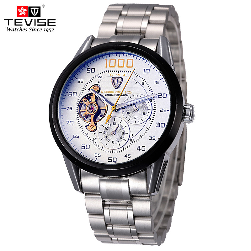 TEVISE Mens Automatic Mechanical Watches Man Tourbillon Self-Wind Watch Silver Full Stainless Steel Luxury Wristwatch Clock 8378 tevise fashion mechanical watches stainless steel band wristwatches men luxury brand watch waterproof gold silver man clock gift