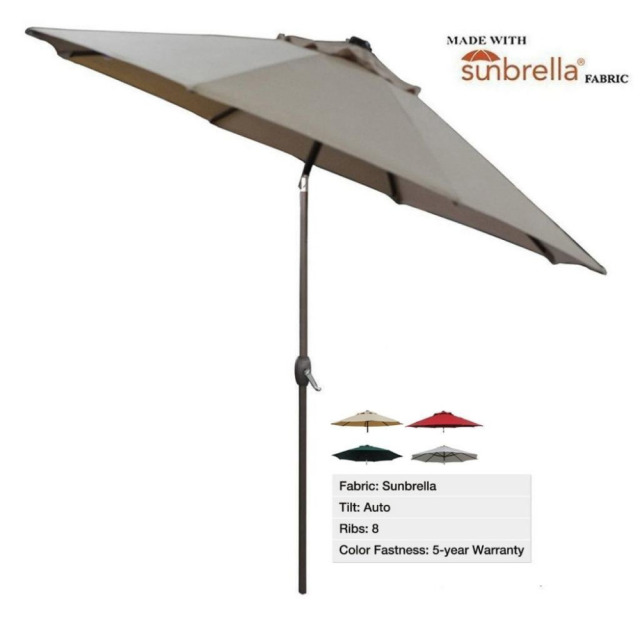Abba Patio 9 Ft Fade Resistant Umbrella Sunbrella Fabric Aluminum With Auto Tilt And Crank