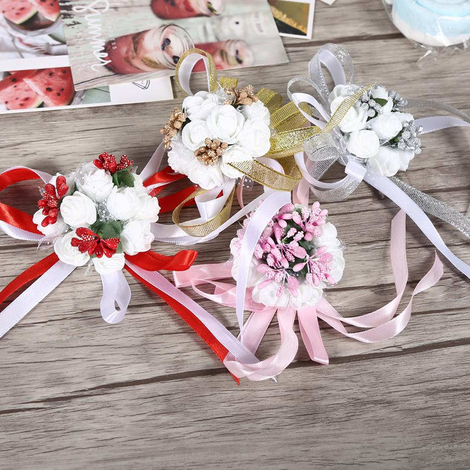 1pc beautiful hand ribbon flower bridal bridesmaid wrist corsage 1pc beautiful hand ribbon flower bridal bridesmaid wrist corsage prom wedding party decorations new in artificial dried flowers from home garden on izmirmasajfo