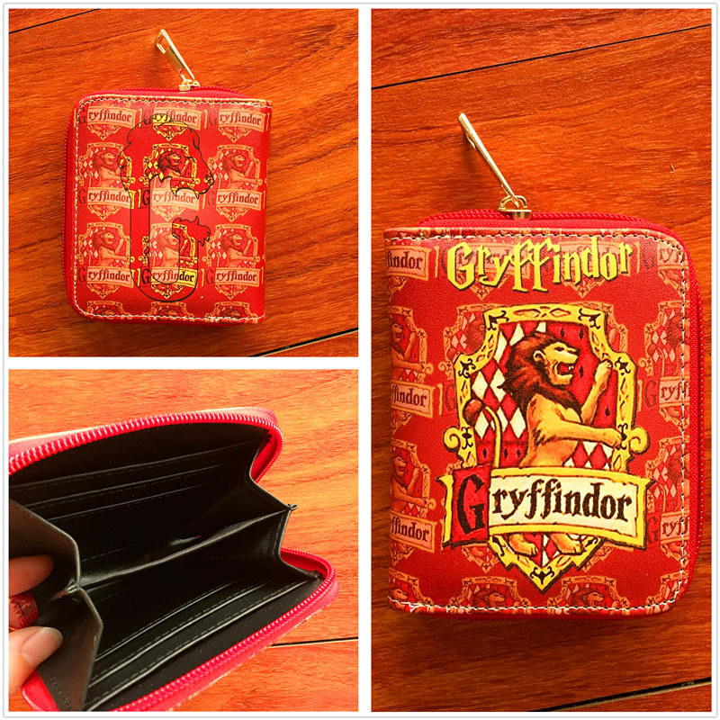 New anime Harry Potter PU short Wallet with zipper Gryffindor card holder purse cartoon magic school W731 new pattern hogg watts magic school school badge quartz pocket watch senior high school student harry potter gift table ds281