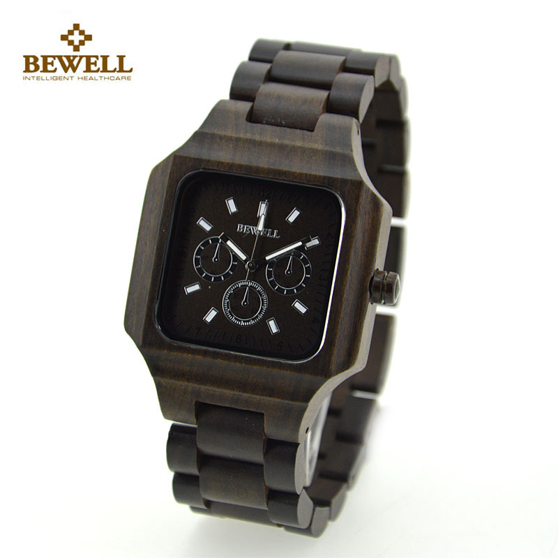 BEWELL Wood Watch Men Top Luxury Wooden Square Quartz Watch Fashion Men Business Watches With Paper box relogio masculino 2196 bewell wood watch men wooden fashion vintage men watches top brand luxury quartz watch relogio masculino with paper box 127a