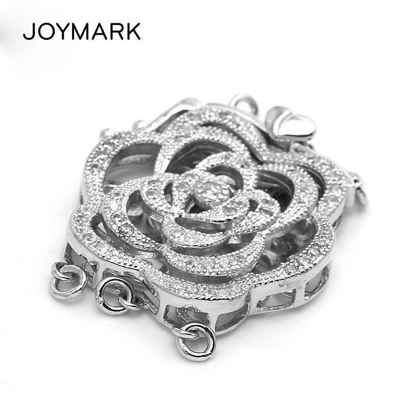 3 Strands Fashion Sterling Silver Micro Pave Zircon Peony Flower Clasp Pearl Jewelry Necklace Pendant Connector