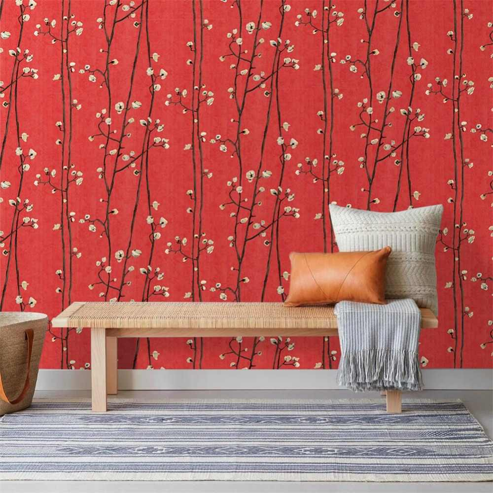 Haokhome Vintage Flower Wallpaper For Walls 3d Red Black Yellow Japanese Style For Living Room Contact Paper Wall Decor Wallpapers Aliexpress