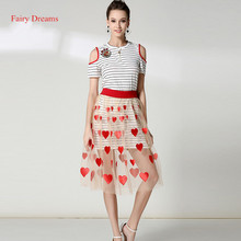Fairy Dreams Women Two Piece Set Striped T Shirt Tops And Red Heart Embroidery Skirts Summer Suit 2017 New Style Fashion Clothes