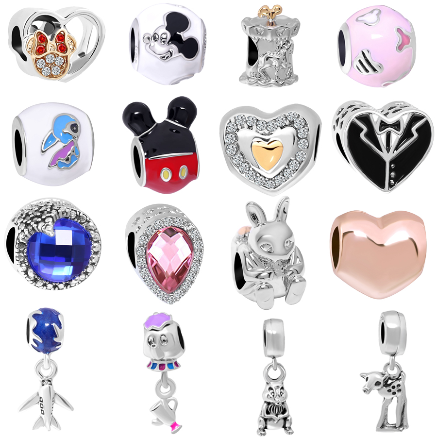 free shipping 1pc &rose gold mickey minnie familly teapot diy bead charms Fits European Pandora Charm Bracelets mix033