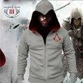 Мода Мужчины Assassins Creed Толстовка Homens Твердые Капюшоном Полный Рукав Толстовки Хлопок Молнии Мужские Толстовки и Кофты Спортивная Одежда