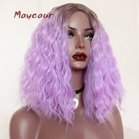 Loose Curly Synthetic Wig Ombre Purple/ Blonde/Pink Hair Wigs For Women Short Wig 200 Density