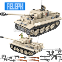 SWAT Military 1018pcs E Tiger I Tank Battle German army Legoingly Weapon Fighter Building Block Sets Models Bricks Toys for Boy
