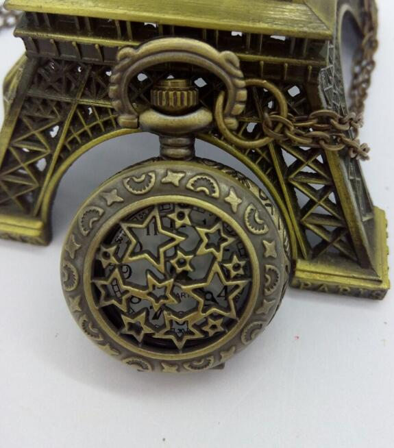 Anqitue Style Retro Steampunk Stars Pocket Watch Necklace 10pcs/lot PO524