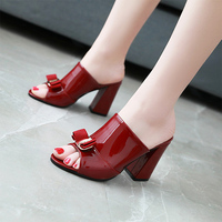 9884d9c84 2018 New Summer Women Sandals With Sweet Bowtie Peep Toe Patent Leather  Square High Heels Shoes