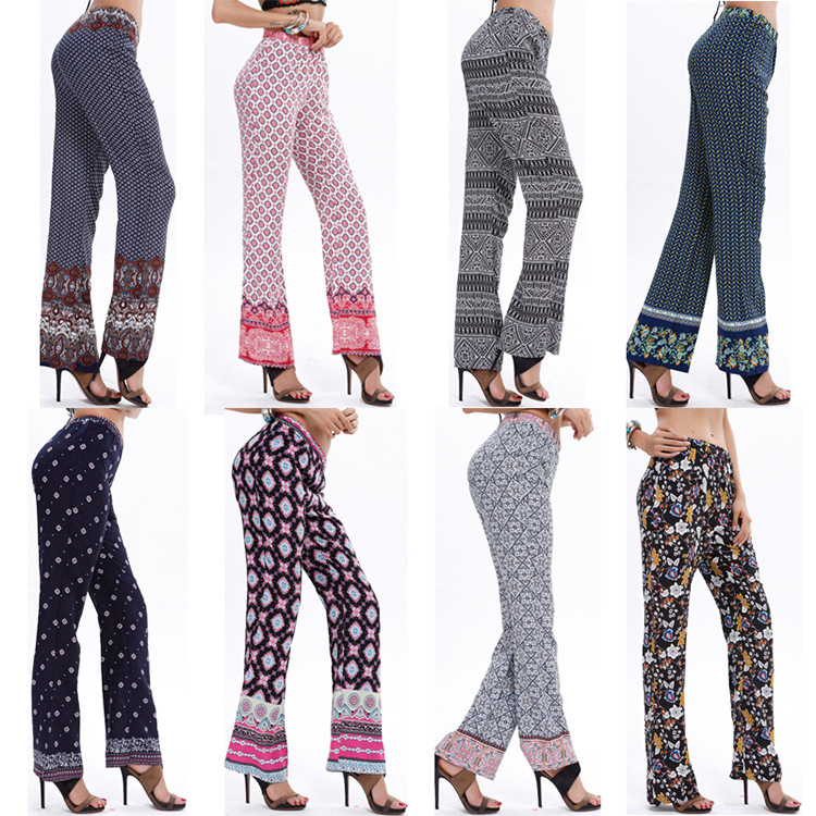 National Style Spring Women Trousers Flower Print Pants Elastic Waist Harem Pants Wide Leg Long Trousers 7 Color