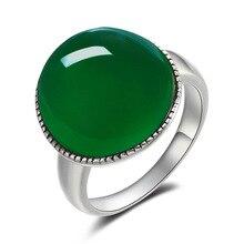 Verde Natural Negro Ágata Anillo de Plata de Ley 925 Bague Femme Pura joyas de plata 925 Anillos para Las Mujeres Joyería de Plata Tailandesa R130