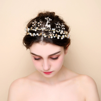 Stunning Gold Color Tiara Elk Design Pearl Princess Crown Bridal Headpieces Hairbands For Wedding Party Girls