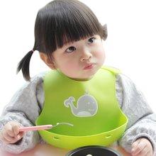 Baberos de bebé niños ajustables almuerzo baberos bebés de silicona a prueba de aceite baberos de dibujos animados