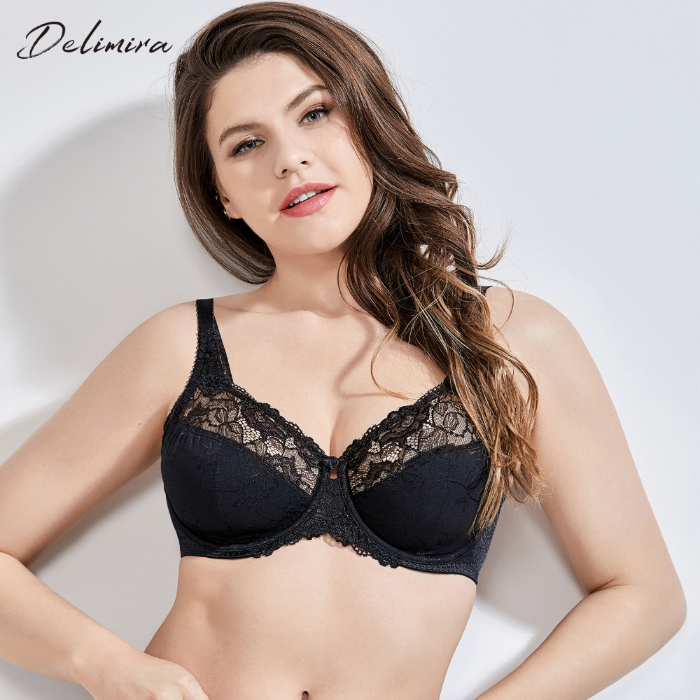 adfc446541d DELIMIRA Women's Beauty Lace Non Padded Minimizer Full Figure Underwire Bra
