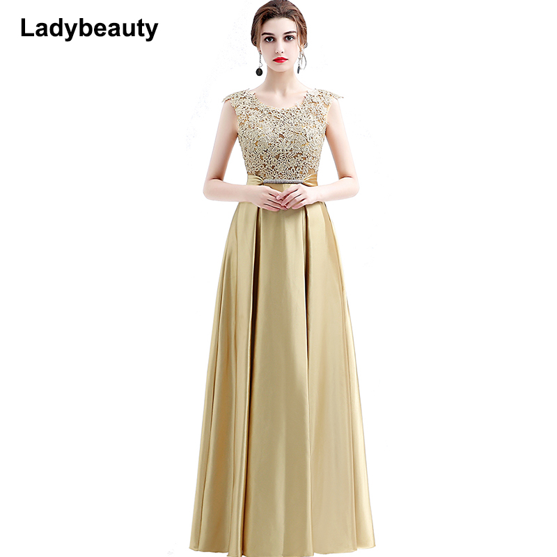 Ladybeauty New Arrival Elegant Party Dress Evening Dresses Vestido De Festa Appliques Gown See Through Opening Back 2019