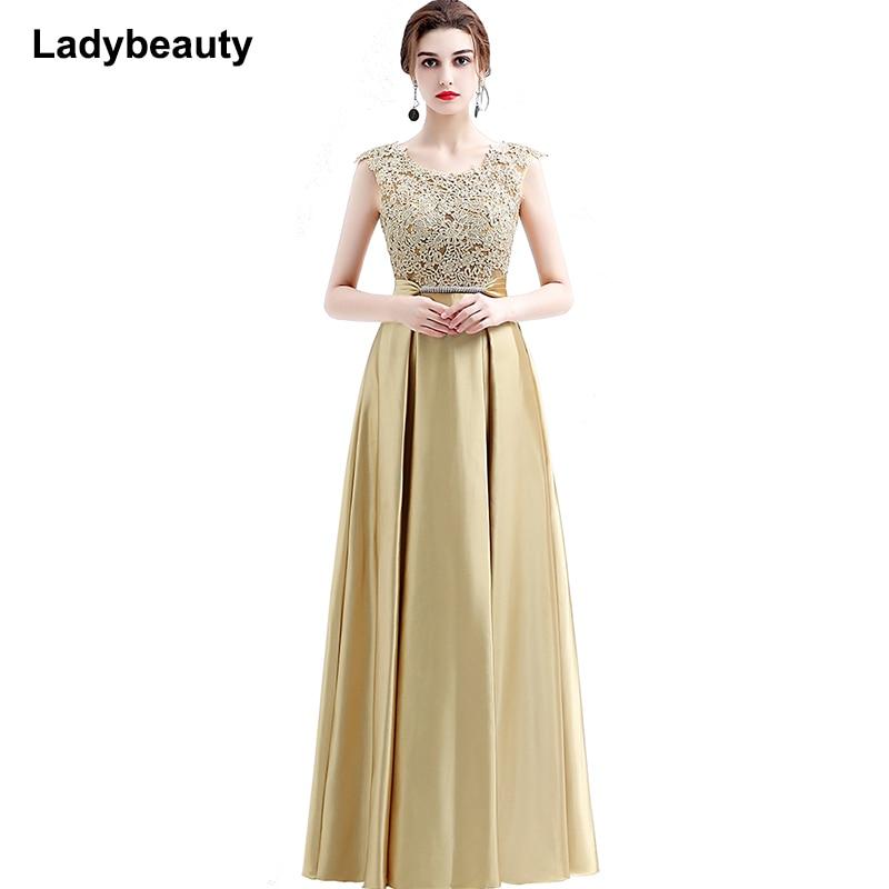 Ladybeauty 新到着エレガントなパーティードレスイブニングドレス Vestido デ · フェスタアップリケシースルーオープニングバック 2019  グループ上の ウェディング & イベント からの イブニングドレス の中 1