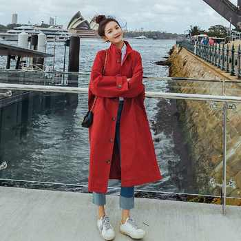 2018 Fashion Autumn Winter Long Trench Women Khaki Red Long Windbreak Single Breasted Streetwear Loose Trench Coat Plus Size