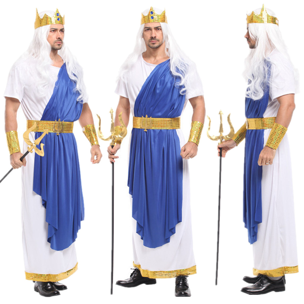 Adult Man Prince King Cosplay Clothes God of Sea Poseidon Costumes Halloween Carnival Christmas Masquerade Party Cos Fancy Dress