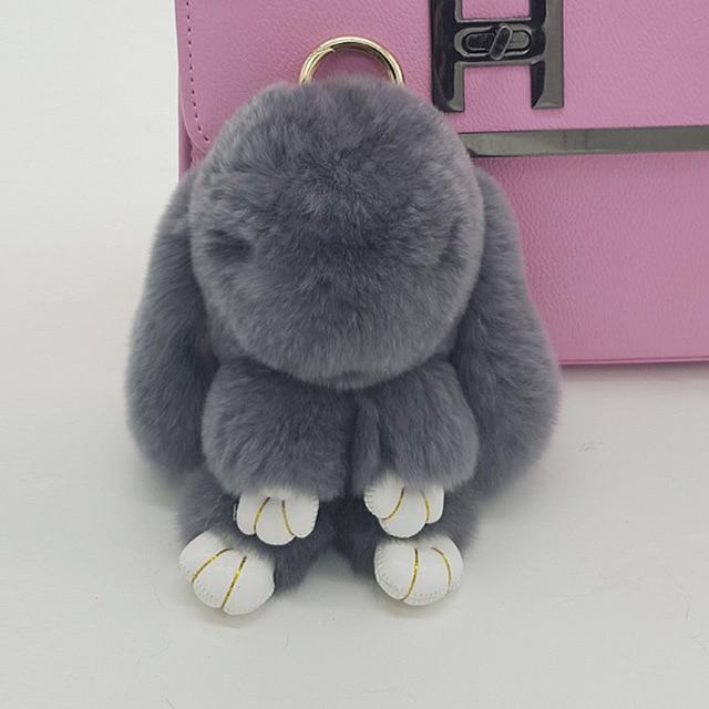 Deep Grey Fluffy Bunny Keychain Cute Rabbit Key Chain Pendant Handbag Rabbit  Charm Real Fur Puffs Genuine Fuzzy Key Ring Girls f56462664c9b
