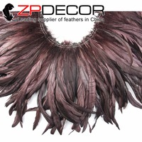 ZPDECOR Trading Manufacturer 10yards/lot 12 14in Brown Rooster Coque Tail Plume Feather Strung for Costume Decoration
