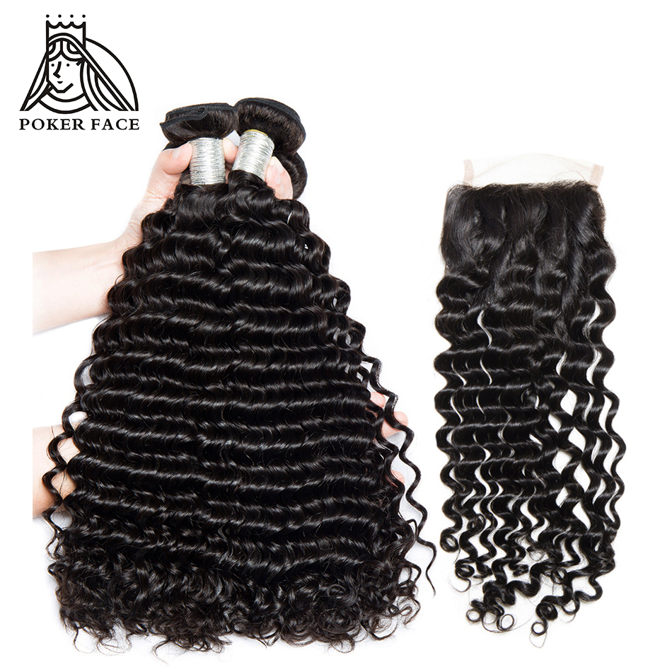 Poker Face Indian Deep Wave 3pcs Human Hair Bundles with 4x4 Closure with Baby Hair Virgin