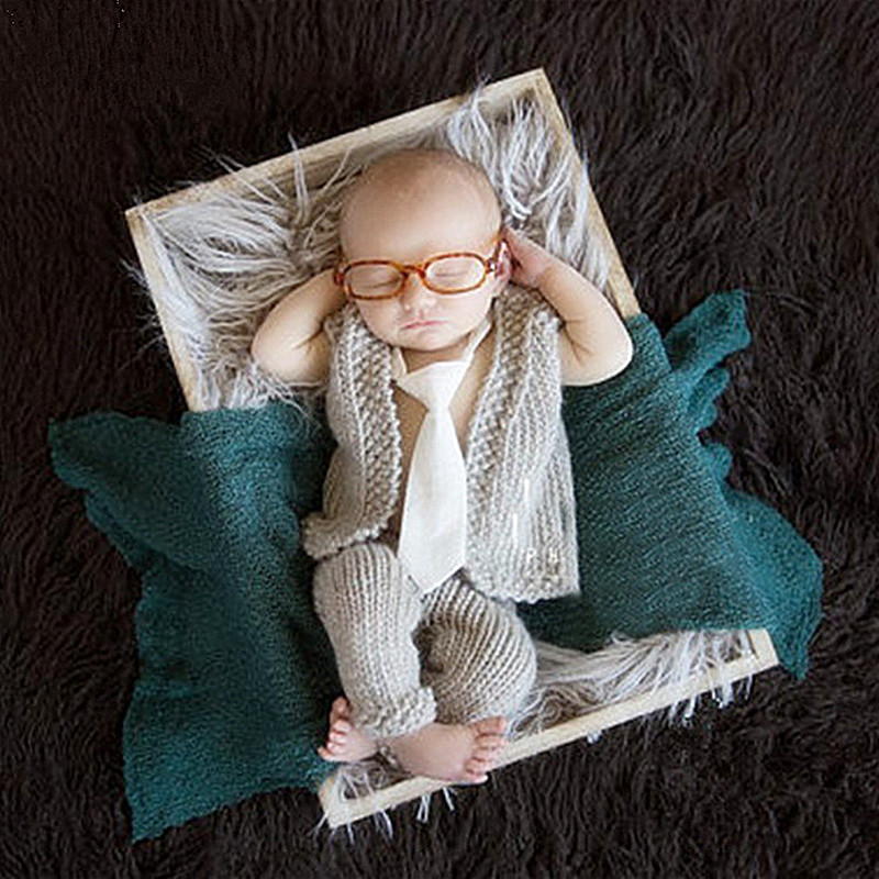 Newborn Photography Props Accessories Baby Costume Photography Knitted Sweater+Pants Set Baby Photo Props Newborn Fotografia