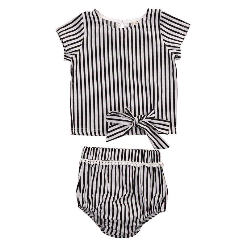 Newborn Baby Girls Clothes Set Outfits Children Clothing Tops Short Pants Summer Girl Cute Strip Sunsuit 2pcs children outfit clothes kids baby girl off shoulder cotton ruffled sleeve tops striped t shirt blue denim jeans sunsuit set