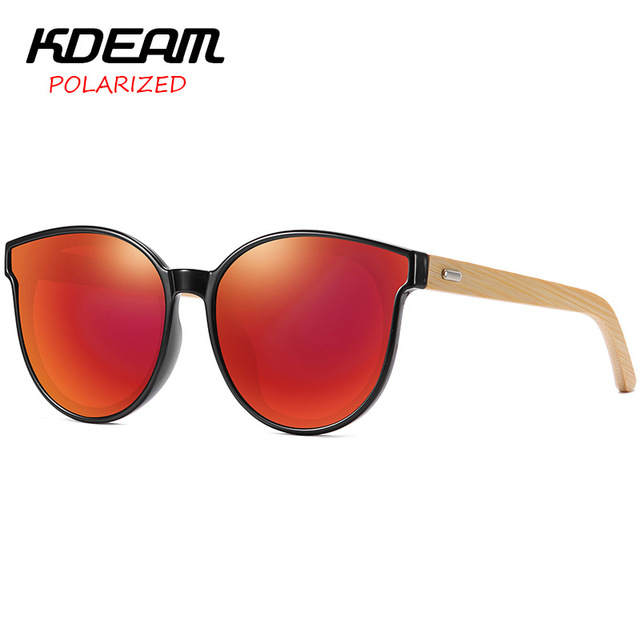 2019 Sunglasses Women Bamboo Legs Cat Eye Design KDEAM Top Luxury Brand Polarized Driving Female Sunglasses UV400 Mirror KD8808