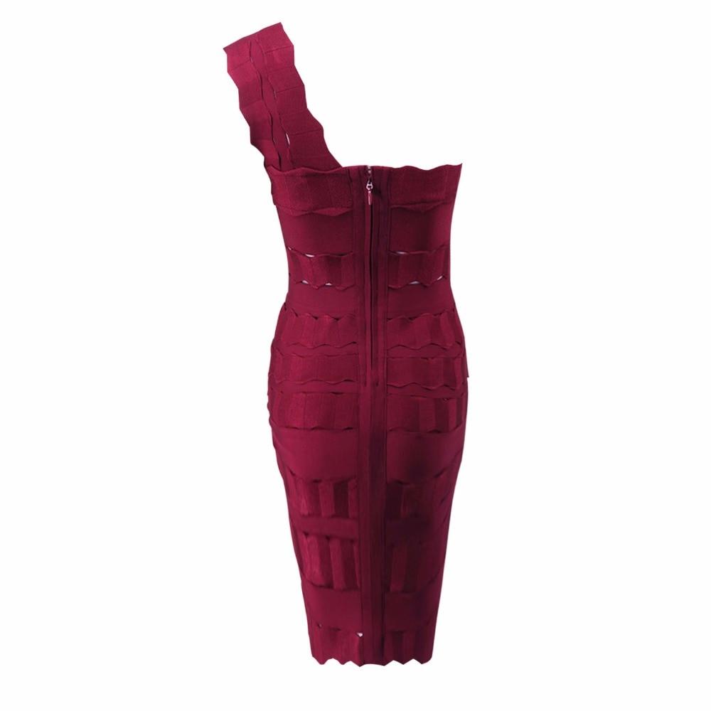 Celebrity Rouge Vin Mode Femmes Rayonne Party Une Épaule Designer De Bandage Sexy Évider Robe Robes 0RwYxO
