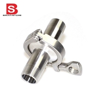 2 Pcs 1 2 DN15 Sanitary Male Thread Ferrule Pipe Fittings Tri Clamp PTFE Gasket Stainless