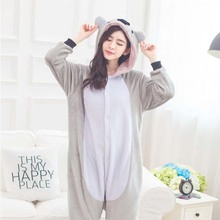 New 2017 Unisex Adult Soft Koala Bear Pajamas Animal Cosplay Costume Onesie Sleepsuit Sleepwear Cute Grey Blue Koala Pyjamas