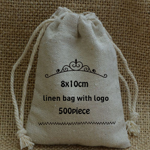 Personalized Cotton linen bag 8x10cm 3x4inch pack of 500 Can print logo Jute Drawstring Pouch
