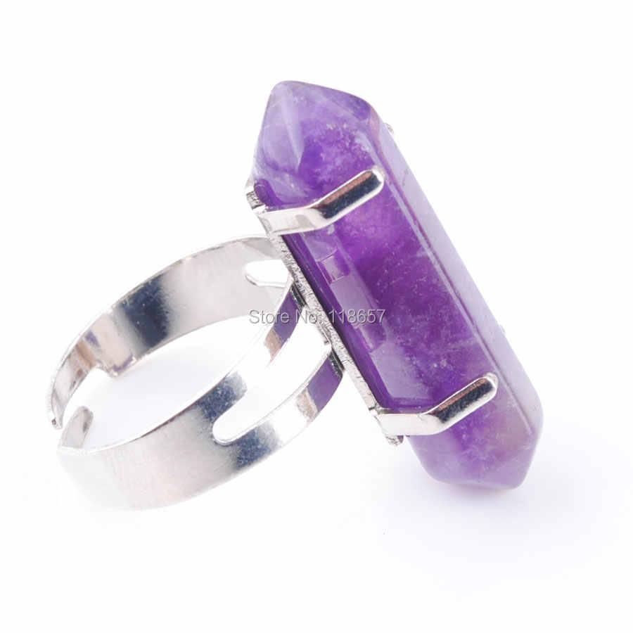 """Envío Gratis amatistas de piedra de GEMA de Reiki Chakra anillo ajustable 20mm (0,8 """") de la joyería 1 piezas IX3028"""