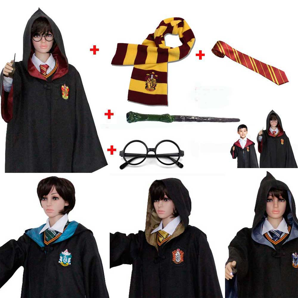 Adult Kids Ravenclaw Gryffindor Hufflepuff Slytherin Costume Magic Harres Potter Robe Cloak Scarf Tie Wand Glasses Set