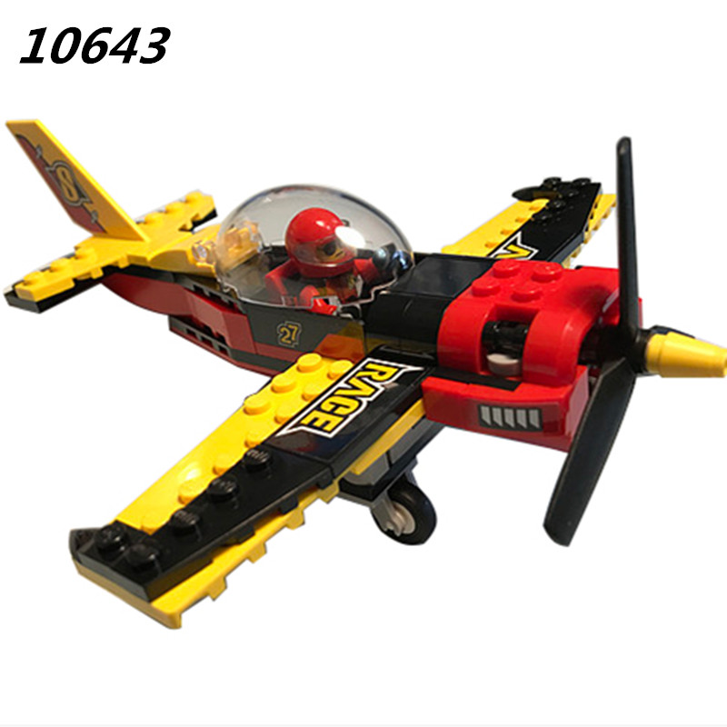 10643 94Pcs City Figures Race Plane Model Building Kits Blocks DIY Bricks Toys Fighter For Children Compatible 60144 335pcs 0370 sluban figures aviation city aircraft medical air ambulance model building kits blocks bricks toys for children gift