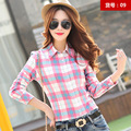 2XL Ladies Female Casual Full Cotton Shirt Spring Lapel Long Sleeve Plaid Shirt Women Slim Outerwear Blouse Tops Clothing 2017