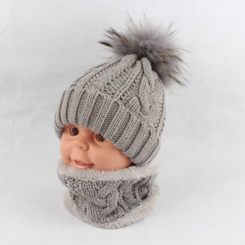 0c42eb0bdb7 ... Children kids Winter Hat Scarf set Raccoon Fur Ball Hat Pom pom Beanies  Baby Girls Warm ...