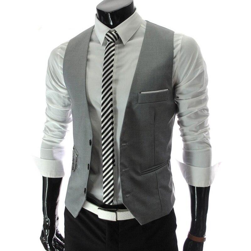 dc8518f82 Nuevo 2015 traje hombres chaleco más el tamaño 4XL caliente marca chaleco  Casual para hombre chaleco Slim Fit negocio partes de arriba chaqueta para  hombre ...