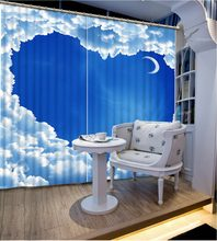 3D Curtain Blackout Bed Room Living Room Office Hotel Cortinas Blue Sky, White Clouds, Moon Blackout Shade Window Curtains(China)
