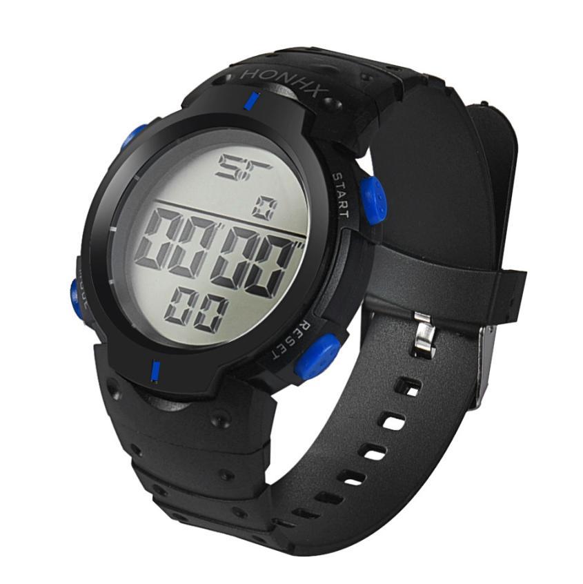HF 2018Fashion Waterproof Men's Boy LCD Digital Stopwatch Date Rubber Sport Wrist Watch Levert Dropshipa Box F825 4
