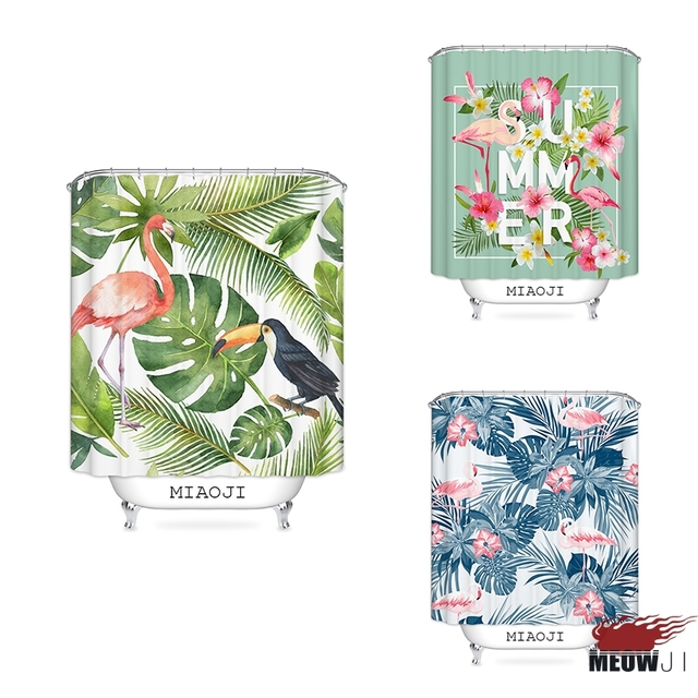 MIAOJI Tropical Jungle Hawaii Summer Plant Pink Flamingo Print Shower Curtain Multi Sizes Bathroom Decor Free Shipping