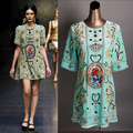 High Quality 2016 Spring New Fashion Runway Heavy Beaded Round Neck Short-sleeve Velvet Dress Beautifully Beaded Two Colors