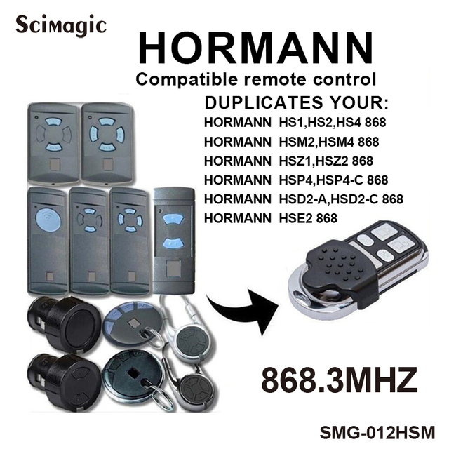 Clone HORMANN HSM2,HSM4 โรงรถประตูเปลี่ยนรีโมทคอนโทรล 868 MHz Fob,HORMANN ควบคุมประตู, เครื่องส่งสัญญาณ 868.3mhz
