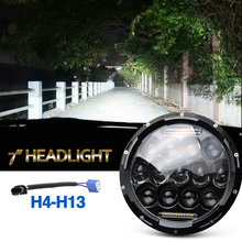 75W Led Headlight 35W Hi Lo Beam 6000K Dc 12V 24V Daytime Running Lights H4 for Jeep Wrangler Jk Lada 4×4 Offroad