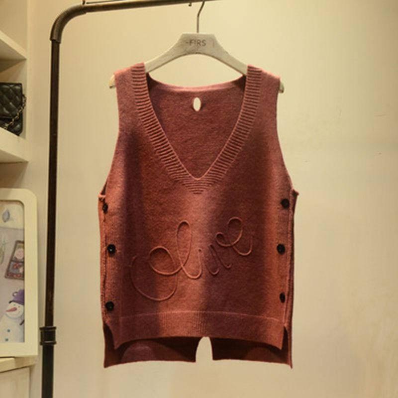 2019 Spring Autumn Female Solid V-Neck Vest Women's Knitted Tank Tops Femme Loose Sweater Pullover Korean Sleeveless Vest A19 5
