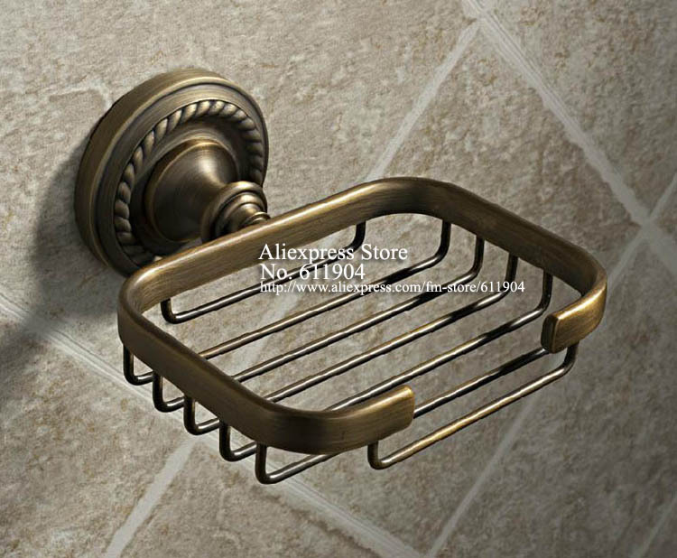 ФОТО Antique Brass Bathroom Acessaries Wall Mount Soap Dish Holder Wire Basket  305010701