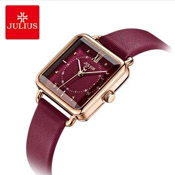 b90c42310ba4 Julius бренд леди Ретро Красные квадратные часы с кожаным ремешком женские  ...