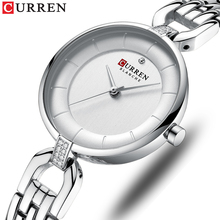 Luxury Brand CURREN Simple Casual Quartz Watches Women Silve