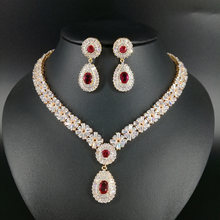 NEW FASHION Retro palace water drop red zircon golden necklace earring  wedding bride banquet dress formal jewelry set free ship bd2f8d414c29